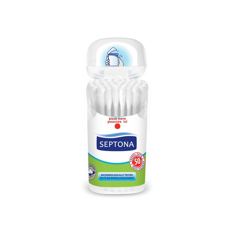 "Septona Cotton Buds With Dispenser Box 50 ""Travel Pack"""