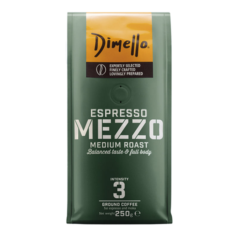 Dimello Mezzo Espresso Ground Coffee Medium Roast Balanced Taste & Full Body 250g