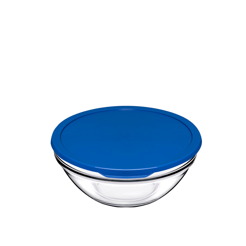 Pasabahce Glass Food Container 17 cm - Blue Cover