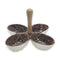 Marble Brown Decorated Divided Serving Dish with Handle