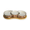 Marble Brown Decorated Serving Bowsls Set with Base 4 pcs