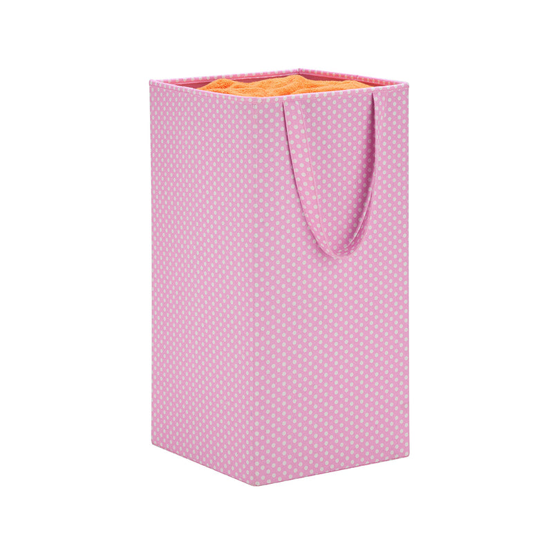 Honey-Can-Do Pink with Polka Dots Foldable Square Hamper