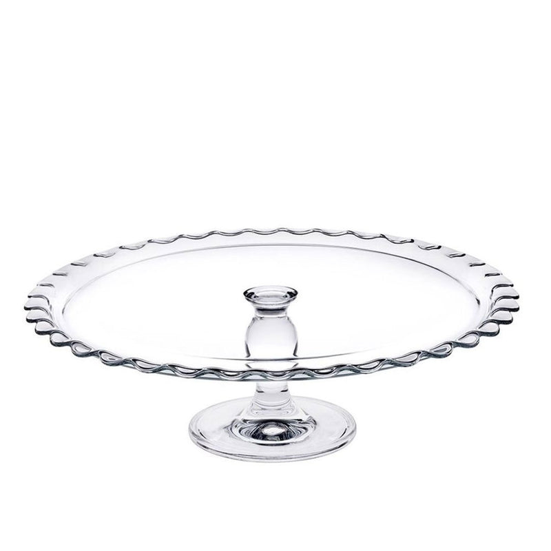 "Pasabahce ""PATISSERIE"" Footed Round Glass Serving Plate"