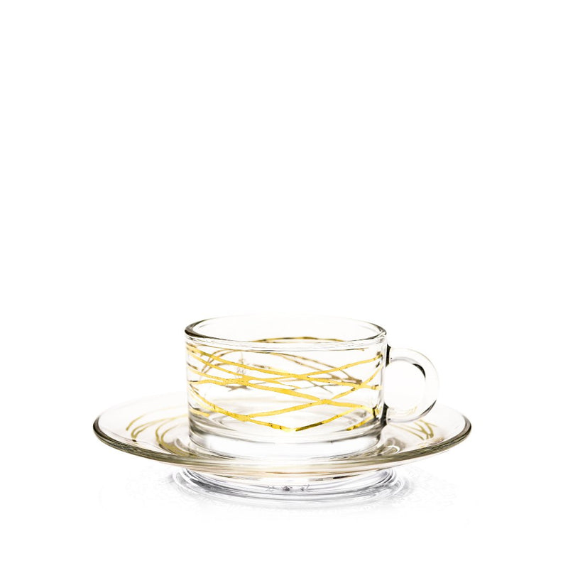 Set of 12 Pcs Gold Abstract Coffee Cups and Saucers