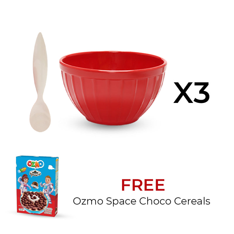 3 Sets of Zak Bowl & Spoon + 325G Ozmo Space Choco Cereals FREE