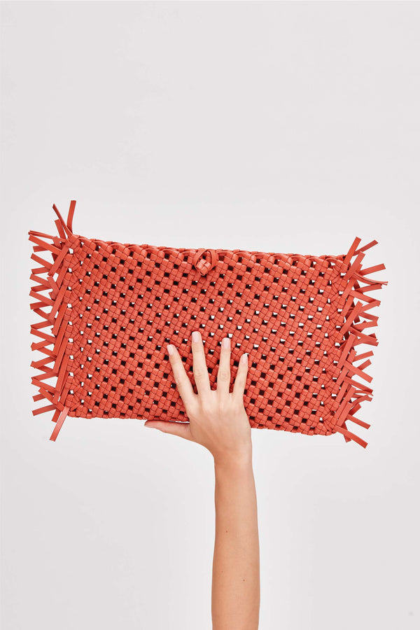 NUDOS - Orange Woven Leather Clutch