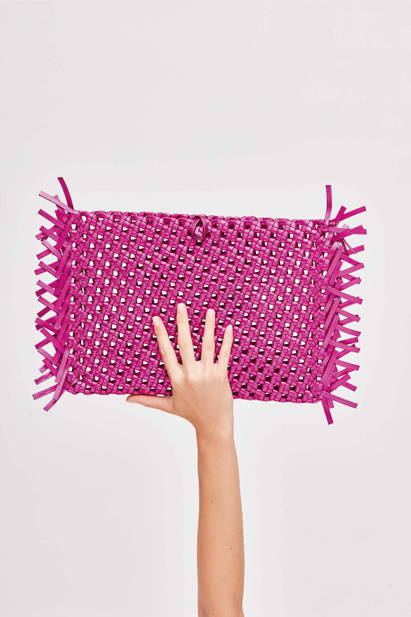 NUDOS - Pink Metallic Woven Leather Clutch