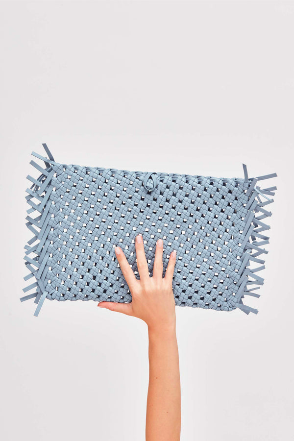 NUDOS - Blue Woven Leather Clutch