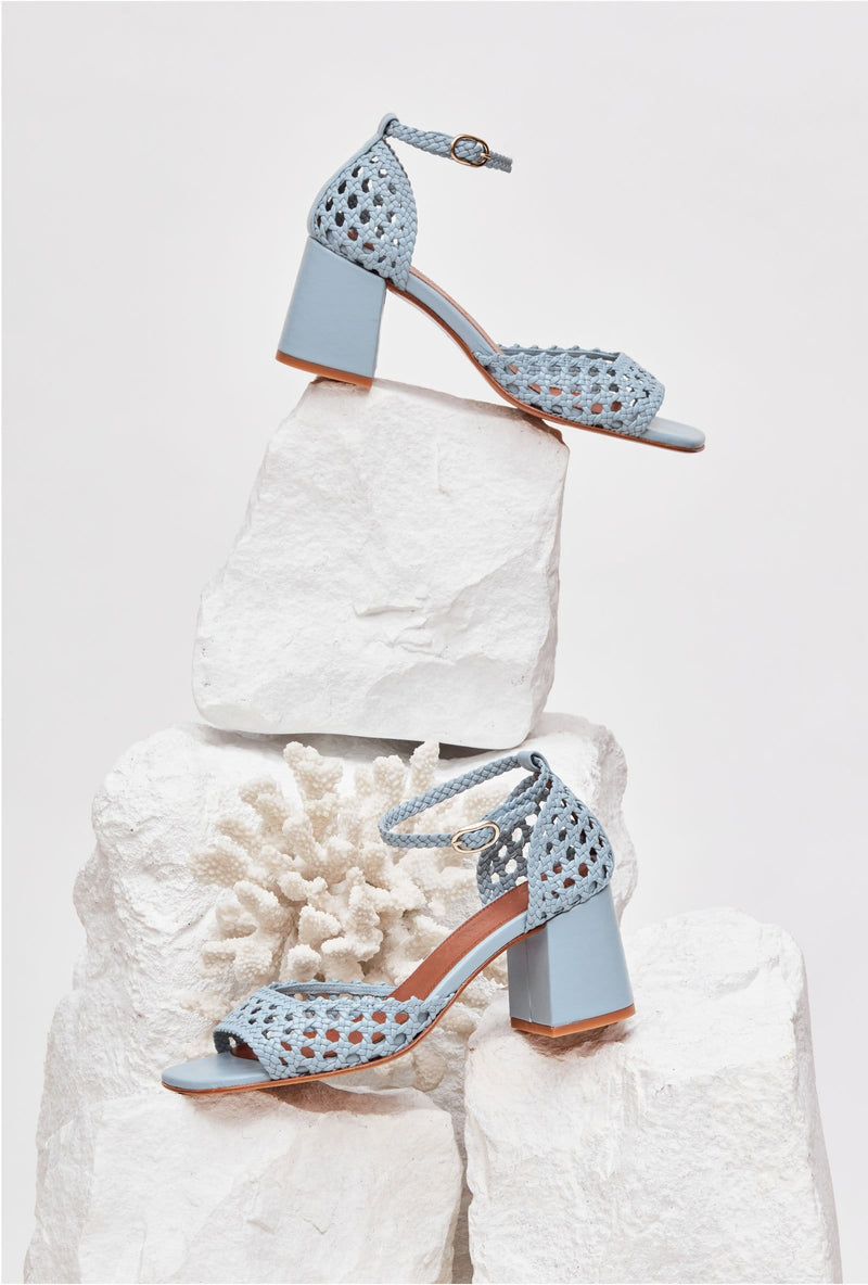 PROCIDA - Blue Woven Leather Sandals