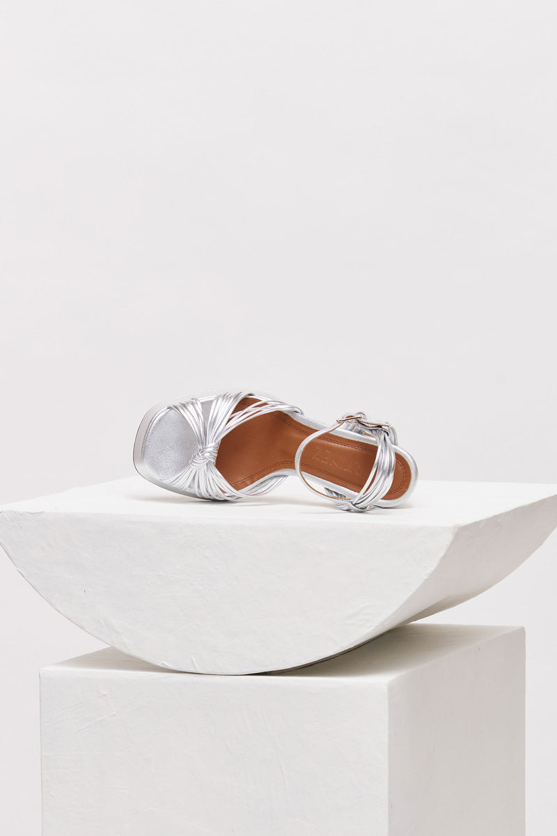 SPRINGS - Silver Leather Platform Sandals