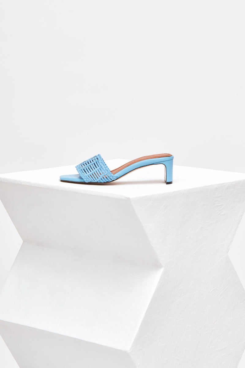 OLGA PERSIANA - Sky Blue Woven Leather Mules