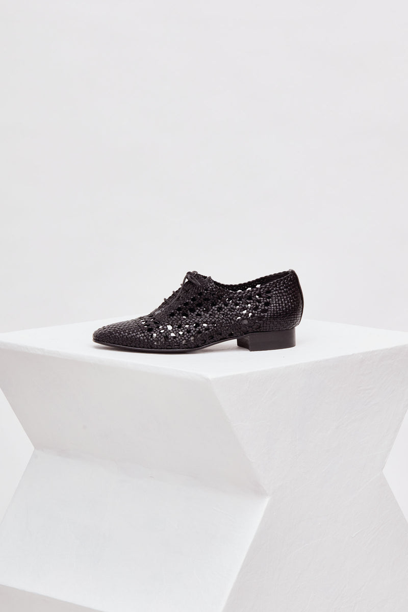 CORSICA - Black Woven Leather Derby Flats