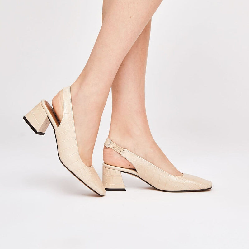 CUENCA - Beige Croc-Effect Leather Pumps