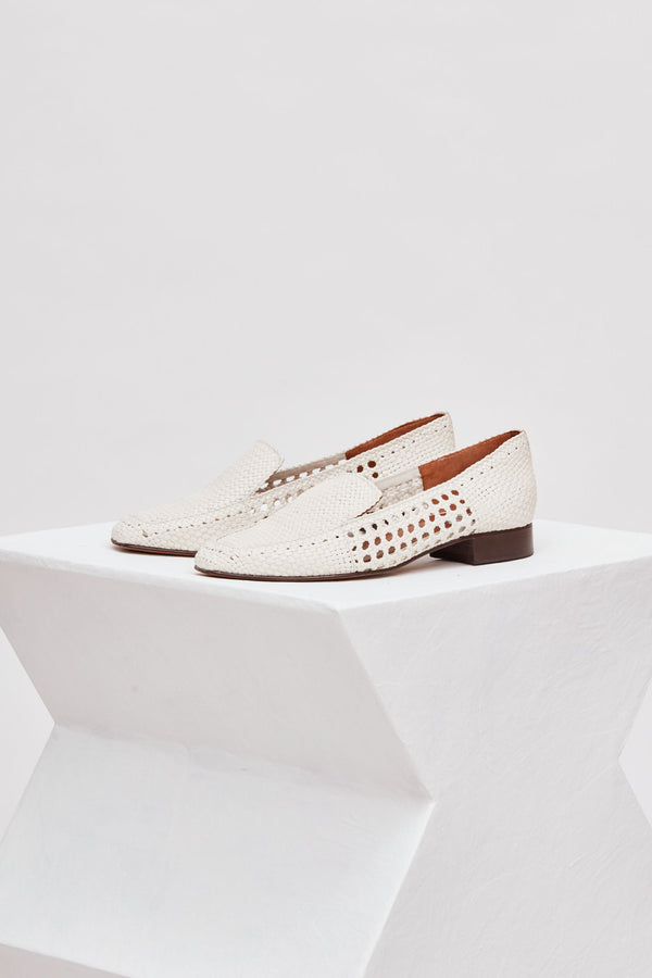 GERONA - White Woven Leather Loafers
