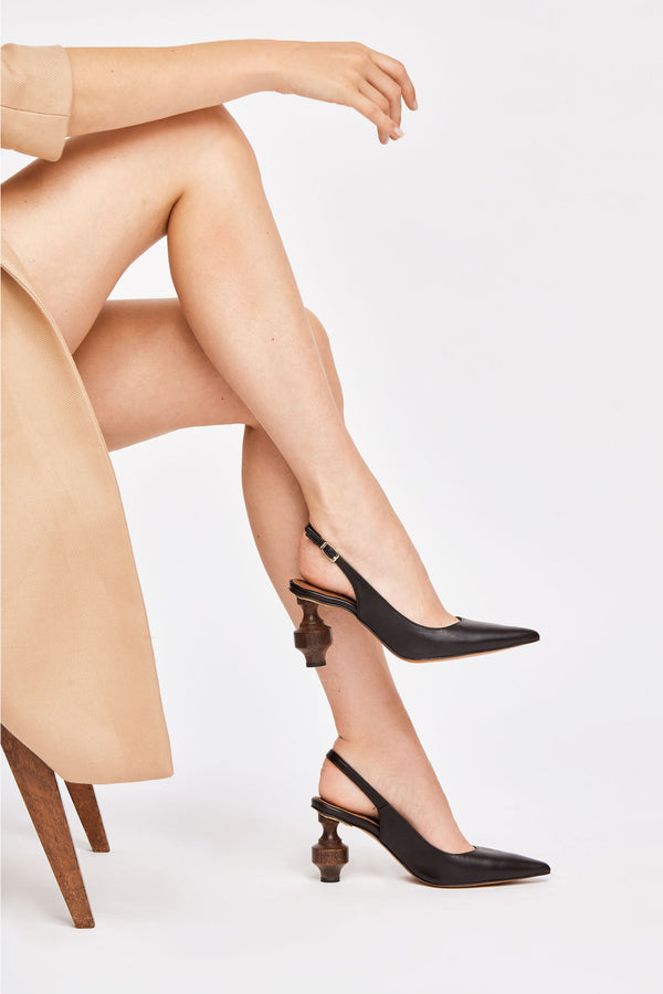 MARIA - Black Leather Slingback Pumps