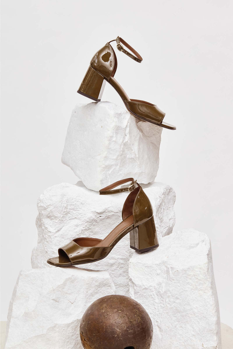 MINA - Khaki Patent Leather Sandals