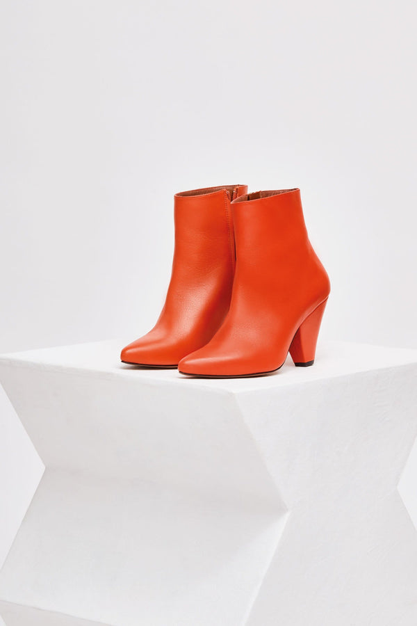 SAN DIEGO - Orange Leather Ankle Boots