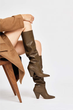 SAN JOSE - Khaki Leather Boots