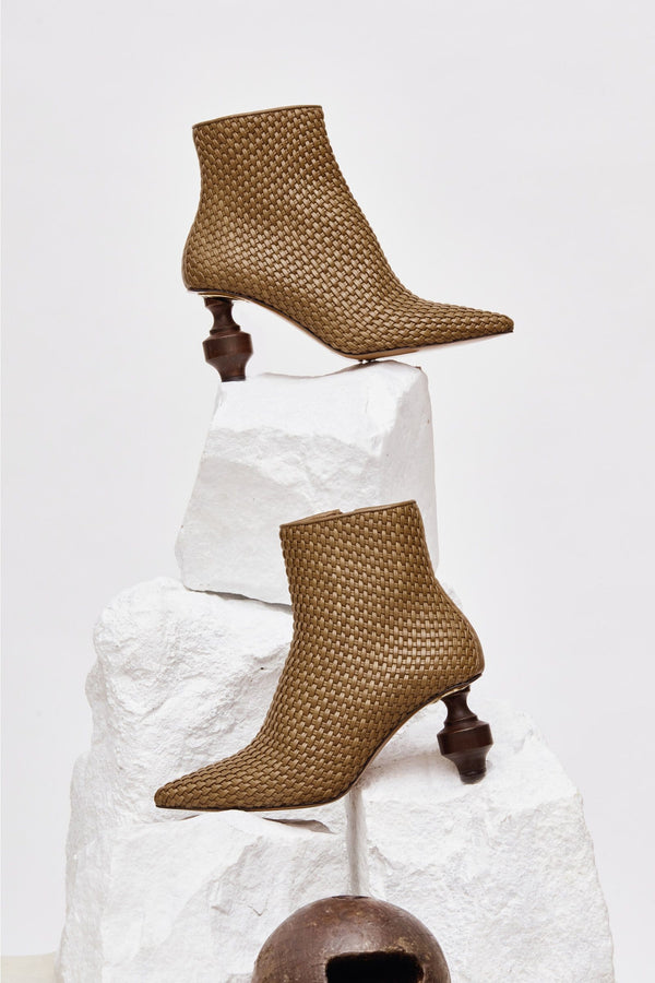VIERNES - Khaki Woven Leather Ankle Boots