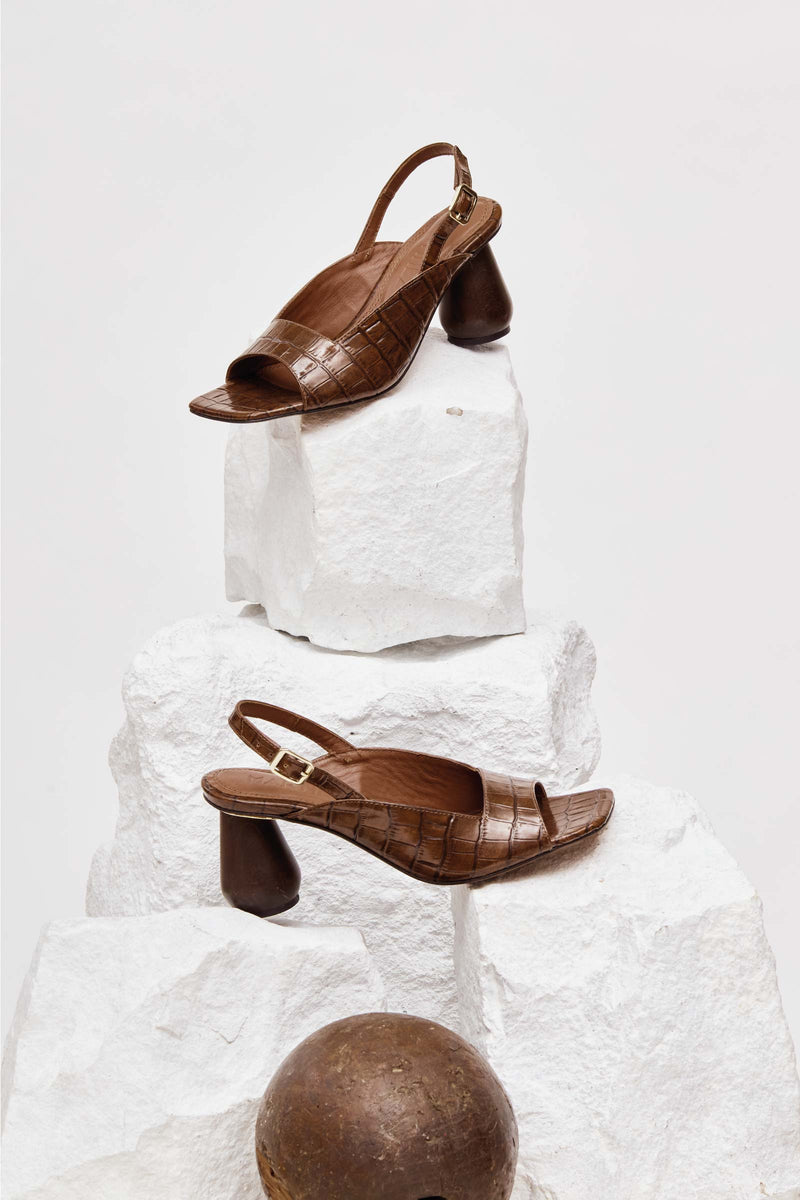 MONTERREY - Chocolate Croc-Effect Leather Sandals