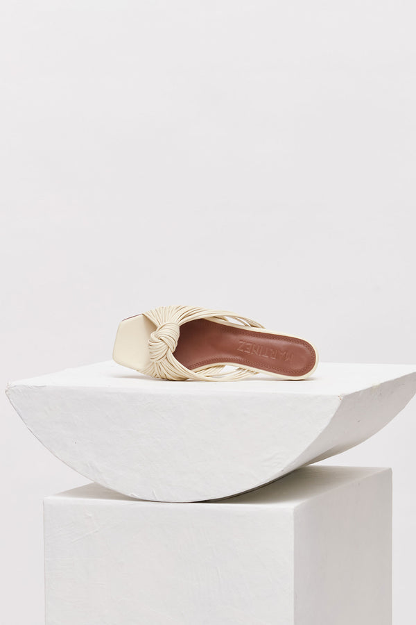 ALICANTE - Cream Leather Knot Sandals
