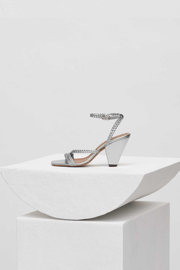 ARIZONA - Silver Woven Leather Strappy Sandals