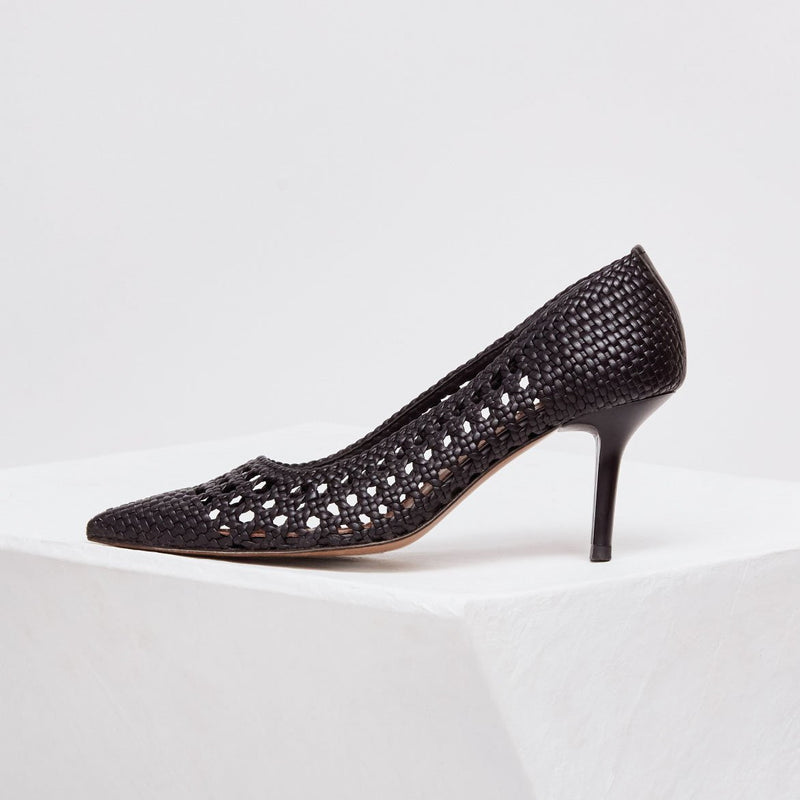 BALEARES - Black Woven Leather Pumps