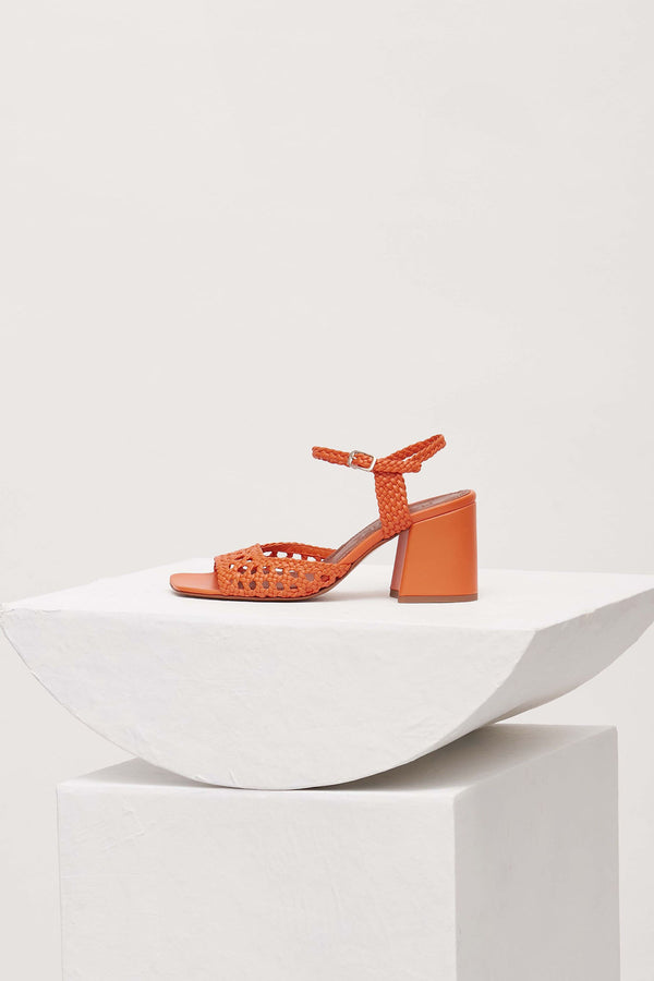 CAPRI - Orange Woven Leather Sandals