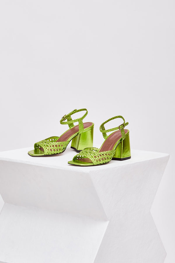 CAPRI - Metallic Green Woven Leather Sandals