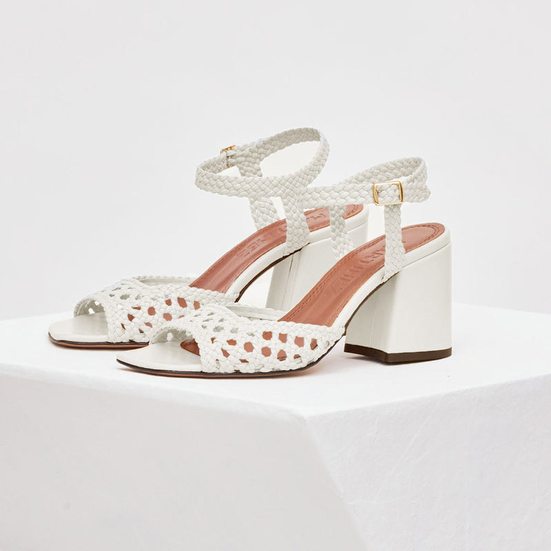 CAPRI - White Woven Leather Sandals