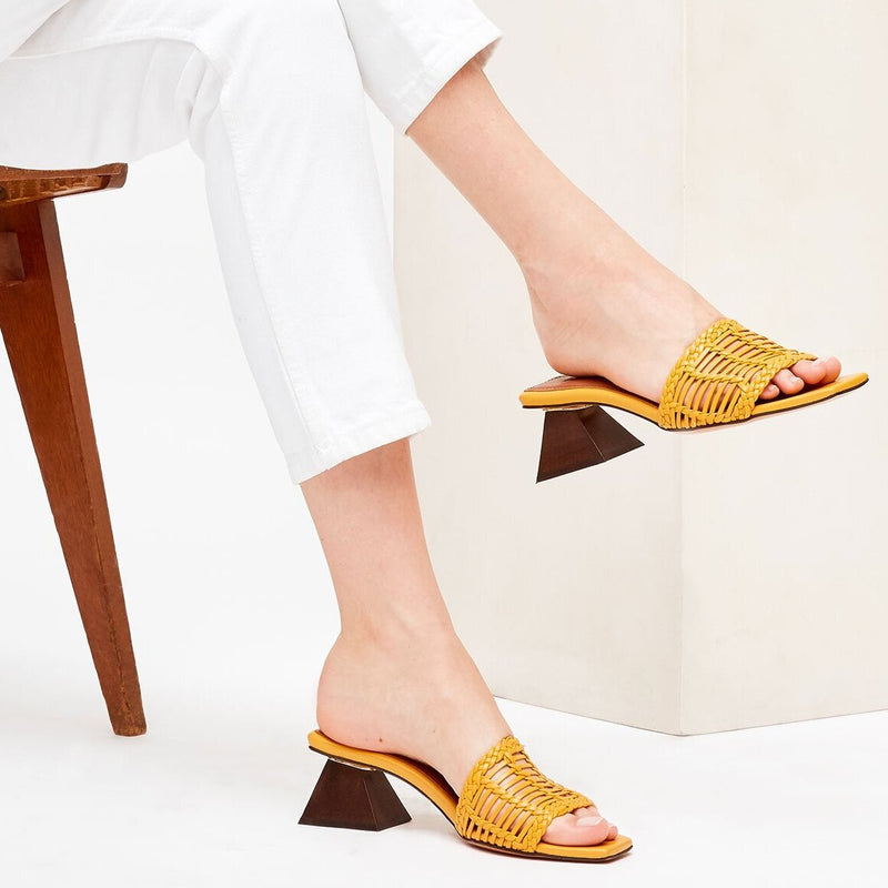 CELIA PERSIANA - Yellow Woven Leather Mules