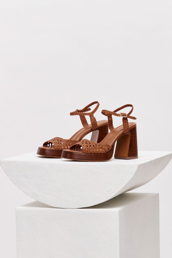 CHEYENNE - Tierra Woven Leather Platform Sandals