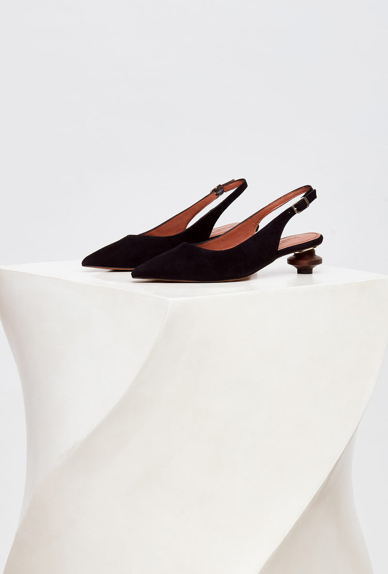 Pair of Black Suede Designer Slingback Shoes, model CUBELLES, by French Designer Shoes brand Souliers Martinez, side view
