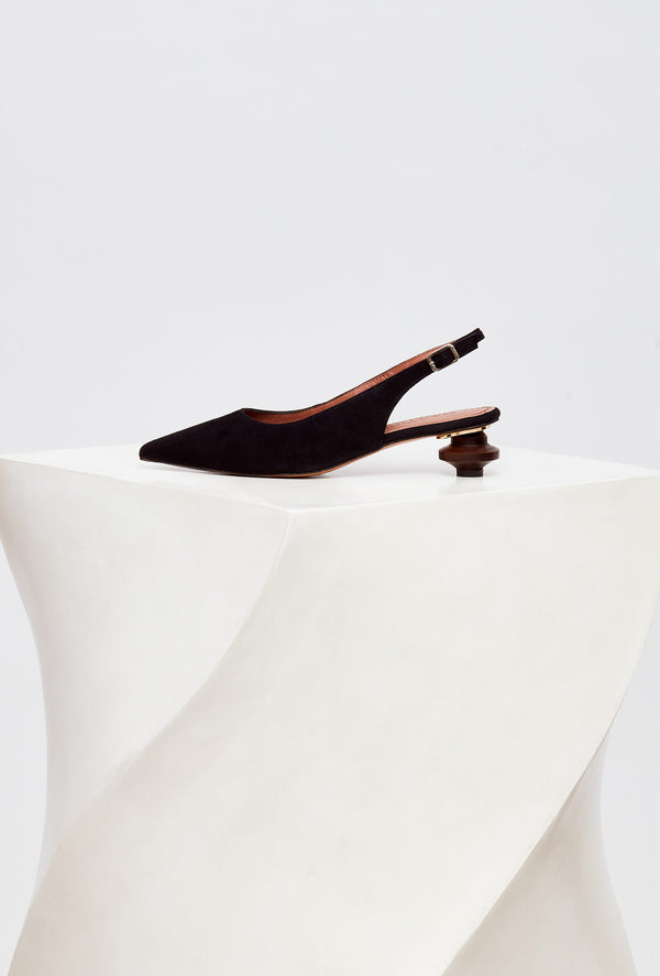 Black Suede Designer Slingback Shoes, model CUBELLES, by French Designer Shoes brand Souliers Martinez, side view of the left shoe