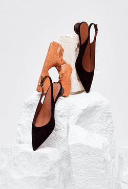 Pair of Black Suede Designer Slingback Shoes, model CUBELLES, by French Designer Shoes brand Souliers Martinez