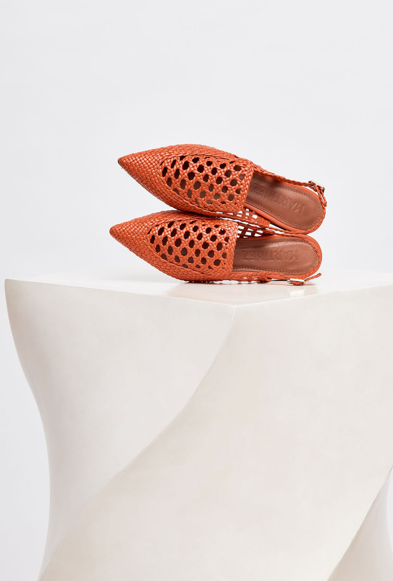 GLORIA - Ceramic Woven Leather Slingback Loafers