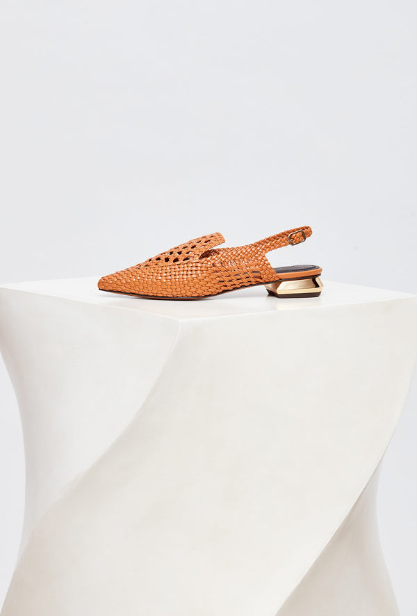 Tan Handwoven Leather Designer Loafers Womens, model GLORIA, by French Designer Shoes brand Souliers Martinez, side view of the left shoe