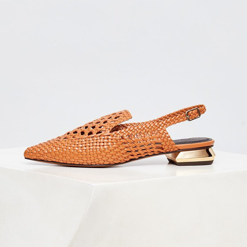 GLORIA - Tierra Woven Leather Slingback Loafers