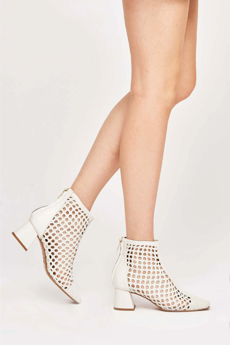 IBIZA - White Woven Leather Ankle Boots