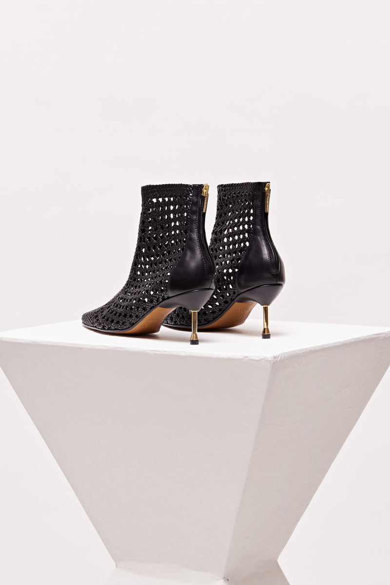 MAHON ICONIC - Black Woven Leather Ankle Boots