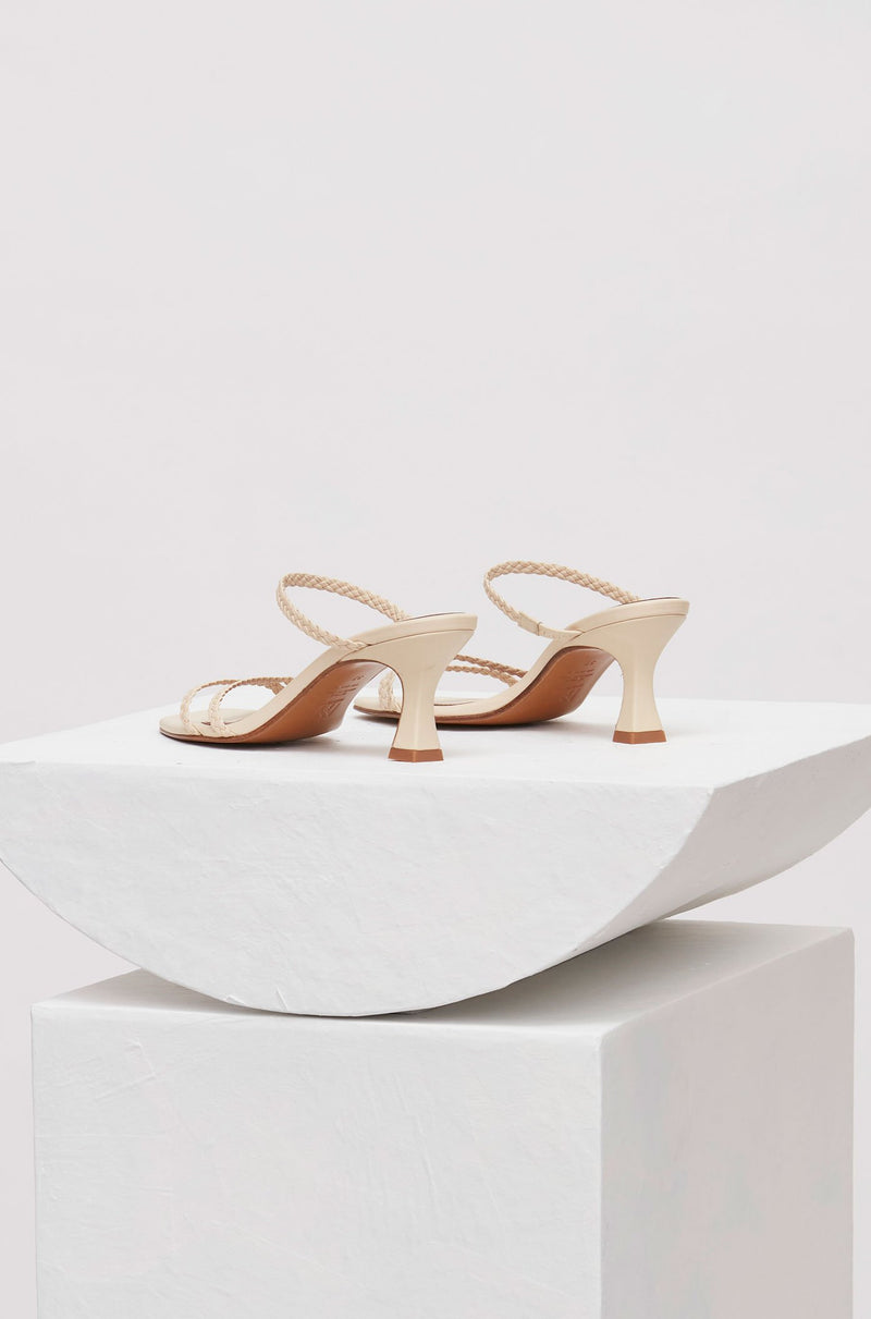 LUCENA - Cream Woven Leather Sandals