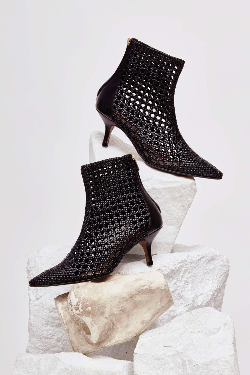 MAHON - Black Woven Leather Ankle Boots
