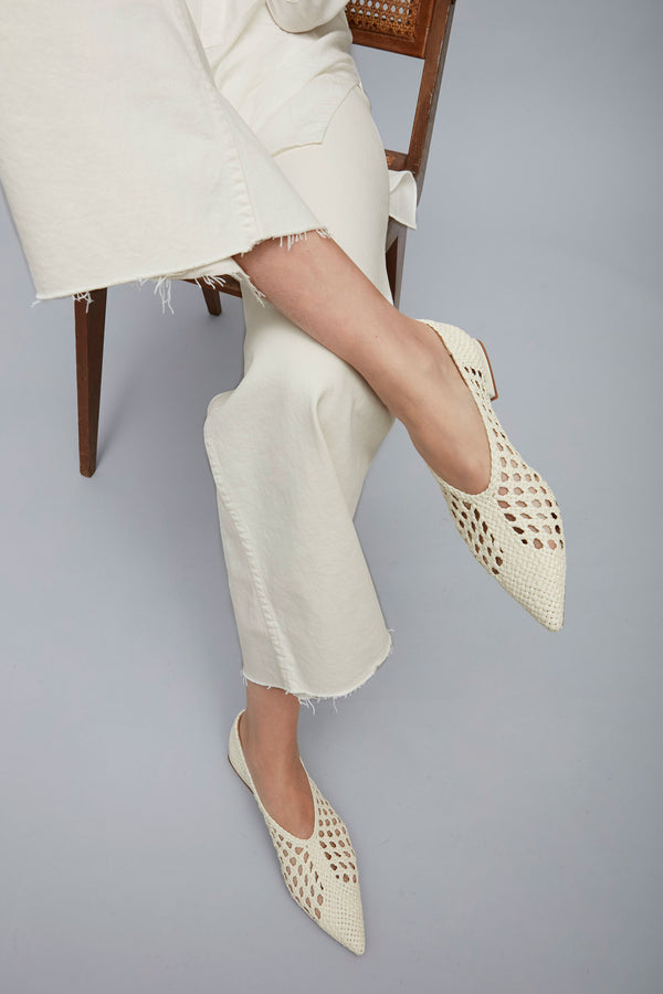 NOVA MENORCA - Cream Woven Leather Ballerina Flats