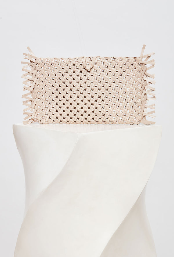 Beige Woven Leather Clutch Bag, model NUDOS, by French Designer Shoes brand Souliers Martinez