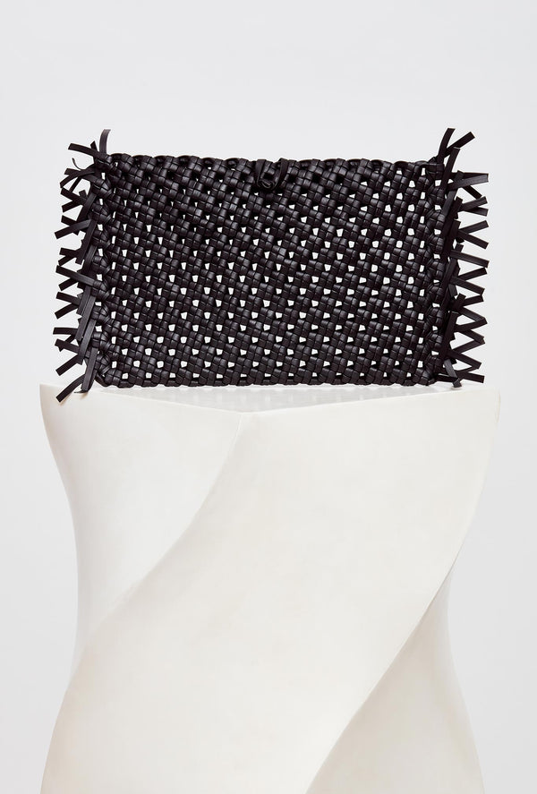 Black Woven Leather Clutch Bag, model NUDOS, by French Designer Shoes brand Souliers Martinez