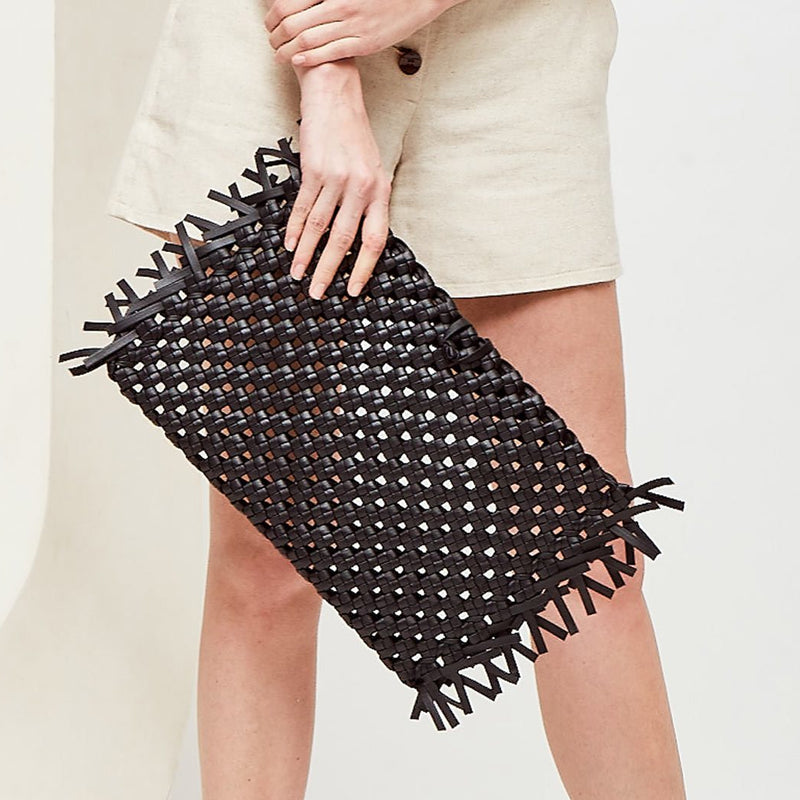 NUDOS - Black Woven Leather Clutch