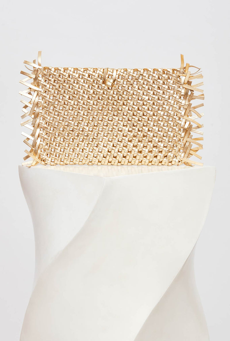 Metallic Gold Woven Leather Clutch Bag, model NUDOS, by French Designer Shoes brand Souliers Martinez