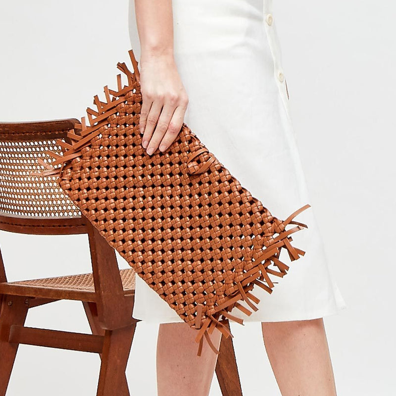 NUDOS - Tierra Woven Leather Clutch