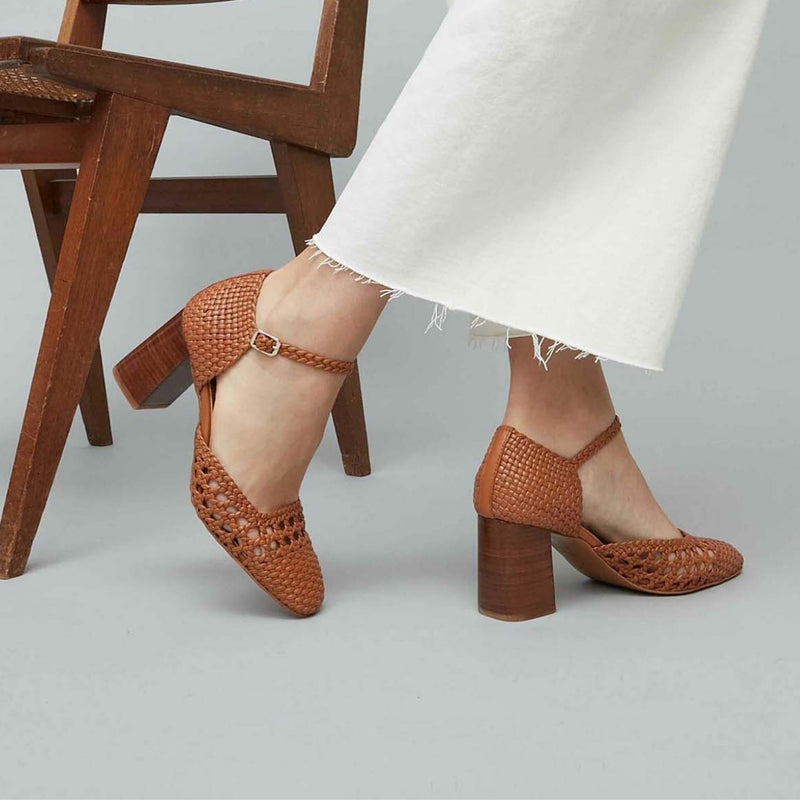 PETRA - Tierra Woven Leather Mary Jane Pumps
