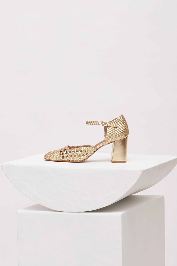PETRA - Venus Woven Leather Mary Jane Pumps